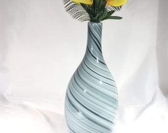 Modernist Gray and White Swirl Glass Tall Vase, Murano Style Cased Glass Home Decor