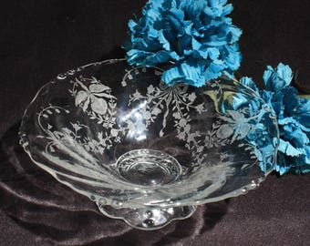 Heisey Glass Orchid Etched Footed Compote
