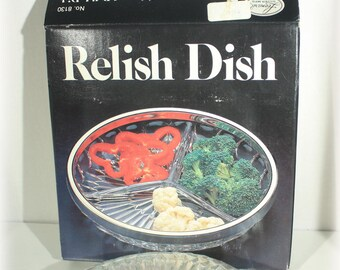 Silverplate Rimmed Crystal Relish Dish, Three Part Glass Relish Dish, 1980 Leonard Crystal