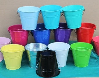 6 Large Buckets with single handle, pails for party decorations, home decorations