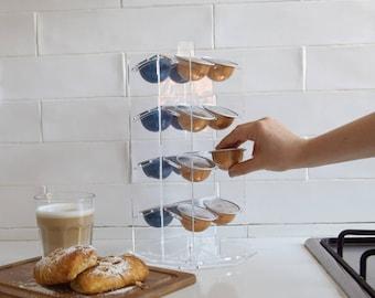 Vertuoline Nespresso Carousel Coffee Pod Holder, Coffee Organizer, Rotate Storage Unit, Clear Kitchen Organizer Design, Kitchen Decor Gift
