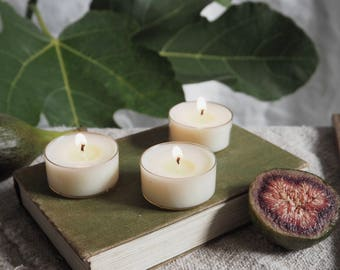 Six Green Fig Scented Soy Wax Tealights