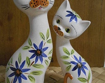 Floral Cats Pair Salt & Pepper Shakers - Retro 70's Kitsch