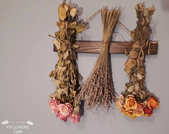 Dried  Flowers Wall hanging. Dried Flowers for Home Décor. Mixed Flower Swag. Dried Flower Rack.