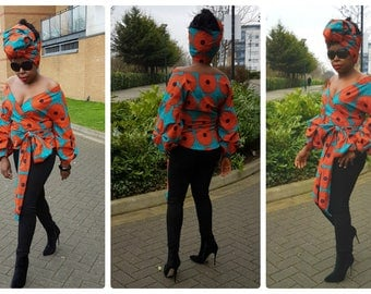 Towani Creations Ankara African Print Wrap Top With Exaggerated Ruffle Puff Sleeves  Size 8-20UK/4-16USA/XS,S,M,L,XL,XXL