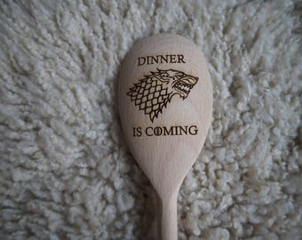 New Game of Thrones inspired wooden spoon House Stark Direwolf Dinner is Coming