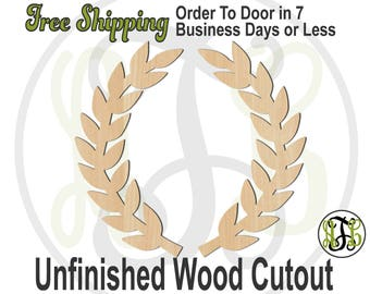 Pair of Laurel Branches - 300177- Nature Cutout, unfinished, wood cutout, wood craft, laser cut shape, wood cut out, Door Hanger, wooden