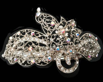 New Stunning Light Silver Filagree With Iridescent Crystal 4 1/2''L Hair Barrette- Leverback