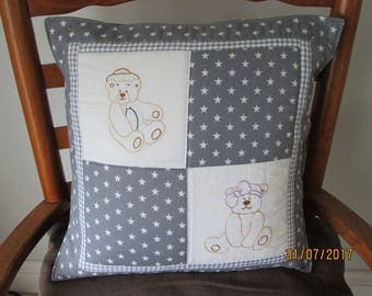 Hand embroidered teddy bear cushion cover