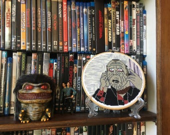Bub Day of the Dead Cross Stitch Embroidered Hoop