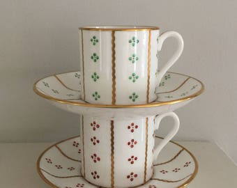 Pair of Tiffany & Co, New York, vintage demitasse cups, by Hammersley China, handpainted.