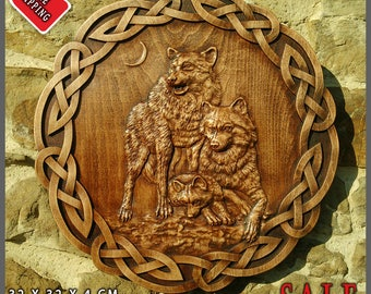 Wolf Odin Viking Valhalla Home Decor Norse Thor Wood Picture Pagan Gods Carving Heathen Asatru Celtic Norse Rune Wall Hanging Animal Picture