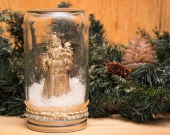 Gold Santa Snowglobe Mason Jar Christmas Decor snow dry waterless mantel decoration
