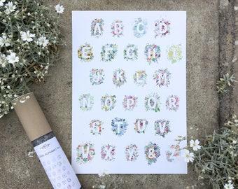 Alphabet Poster A4 - A-Z  Watercolour Flowers, Alphabet Letter Poster, Home Decor, Print Nursery Playroom Bedroom