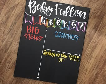 Weekly pregnancy Chalkboard / weeks pregnancy stats / pregnancy Chalkboard / pregnanc tracker / maternity / pregnancy announcement Canvas