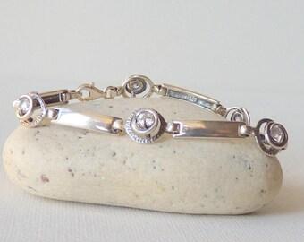 """Sterling Silver  7 1/2"""" 925  Cubic Zircon Bracelet, CZ Bracelet, Link Bracelet, Retro Jewelry 925 Zircon Jewelry, Vintage Cubic Zircon"""
