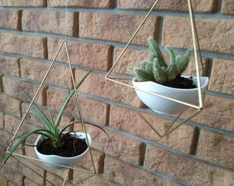 set of 2 geometric modern hanging planters with a white ceramic flower pots   himmeli   gold hanging terrarium geometric mobile