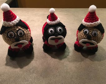 SANTA PUGS - Amugurumi crocheted handmade pug doll for Christmas