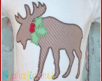 Christmas Designs - Christmas Applique Design - Christmas Moose - Holly Jolly Moose Zig Zag Applique Design - Embroidery Designs