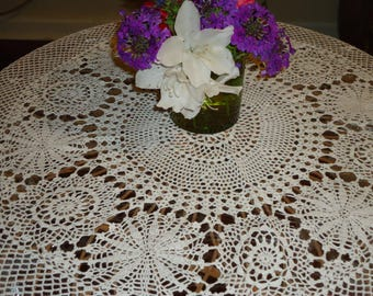 Vintage,  Crochet Lace White, 40 inch,  Round Tablecloth