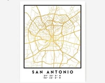 San Antonio Map Coordinates Print - Texas City Street Map Art Poster, Gold San Antonio Map Print, San Antonio Texas Coordinates Poster Map