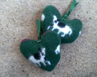 Two wool Green  knit Cow Hearts