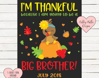 Thanksgiving Big Brother Announcement Chalkboard Printable - Turkey Pregnancy Announcement Sign - Pregnancy Reveal - We're Expecting - Fall