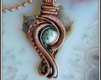 Copper Wire Woven Pendant, Wire Wrapped Pendant, Stone Necklace, Tree Agate Pendant, Wire Wrap Jewelry, Wire Woven Jewelry, Copper Jewelry