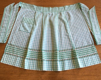 Vintage Half Apron, Green & White Gingham Checked Apron with Green Hand Embroidered Cross Stitch, Hand Made Country Farmhouse Kitchen Apron