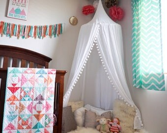 Pompom Play canopy in white cotton / hanging tent/bed canopy/ hanging canopy