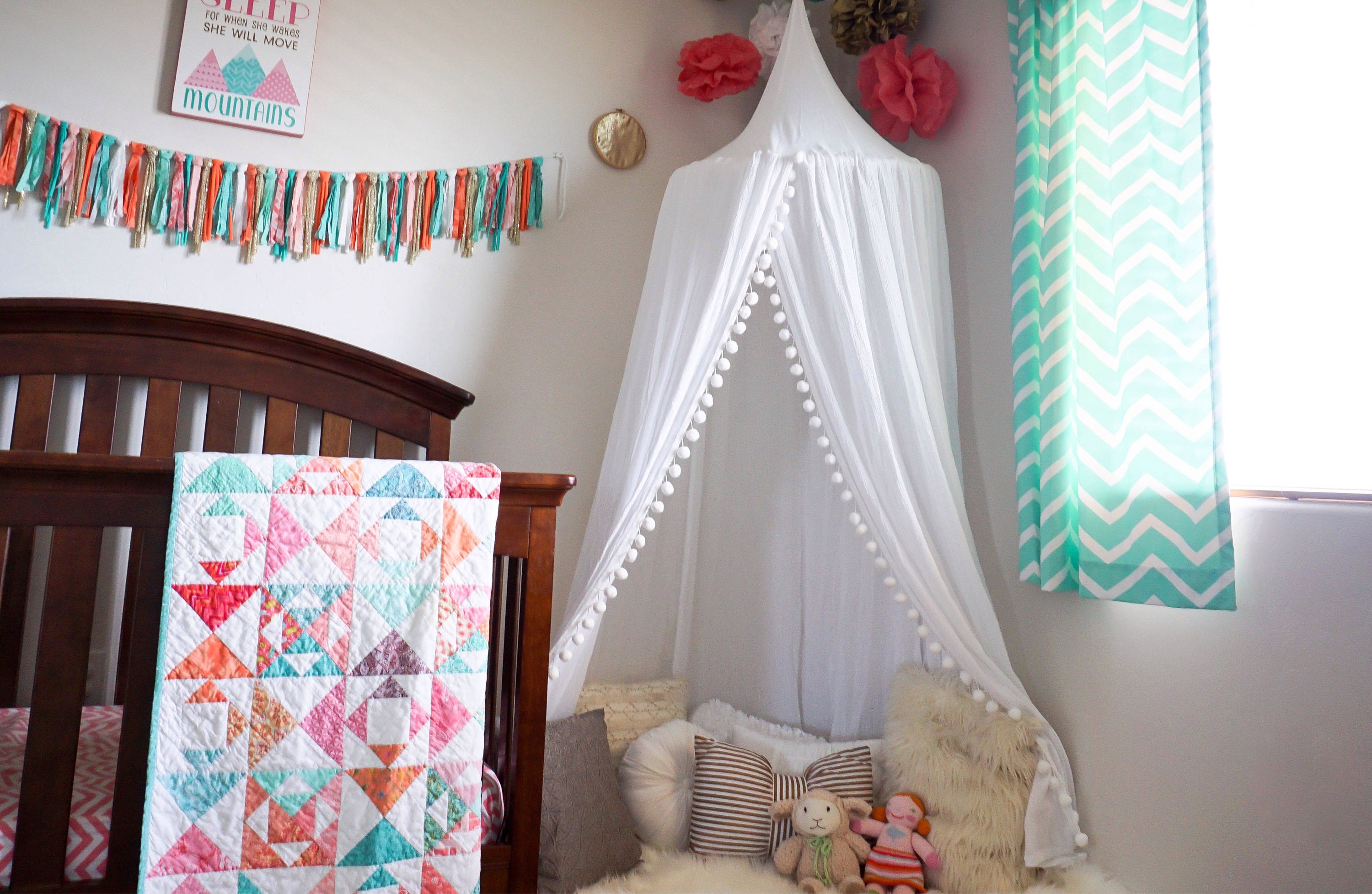Pompom Play canopy in white cotton / hanging tent/bed canopy/ hanging canopy & Pompom Play canopy in white cotton / hanging tent/bed canopy ...