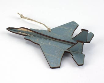 Wooden F-15 Fighter Jet Christmas Ornament
