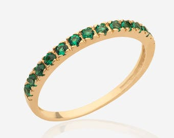 stacking ring real 14k gold ring half eternity ring mothers gemstone ring multistone jewelry birthstone ring
