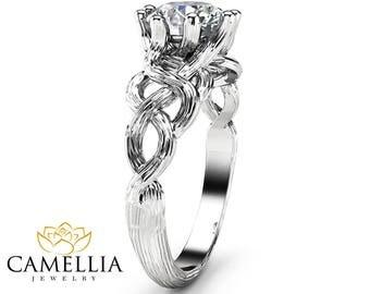 Twig Diamond Engagement Ring 14K White Gold Branch Ring Choose Your Diamond Engagement Ring