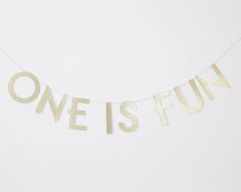 One Is Fun banner, First Birthday Banner