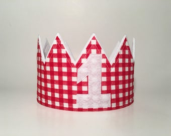 First Birthday Crown, Gingham Crown, Gingham Birthday Hat, Red gingham crown, Farm party hat, Farm birthday party, birthday crowns