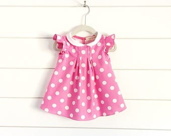 Minnie Mouse inspired dress, Minnie Mouse first birthday outfit, Minnie Mouse costume, Minnie Mouse dress up, pink Minnie Mouse dress, pink
