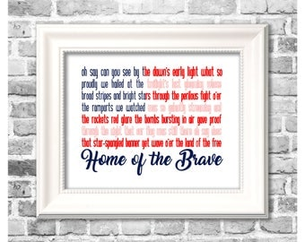 Fourth of July Print / Star Spangled Banner / American Flag Decor / Red White and Blue / Printable Independence Day Decor