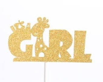It's A Girl Paper Stock Gold Glitter Cake Topper Cupcake Pick