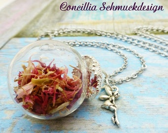 Necklace with glass ball and pink blossoms