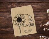 Personalized Favor, Custom Seed Packet, Sunflowers, Sunflower Wedding, Let Love Grow, Seed, Gifts, Custom Favor, Seed Favor x 25