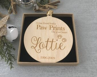 Dog Bauble- Cat Bauble - Christmas Pawbles - Tree Decoration - Personalised Tree Bauble - Personalised Tag - Memorial pet bauble 1