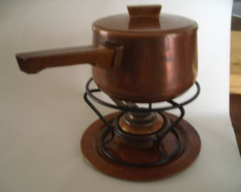 Vintage French Copper fondue set. Copper pan .