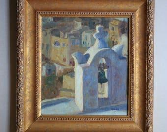 Bell of Oia, Santorini, Greece, Original Oil Painting