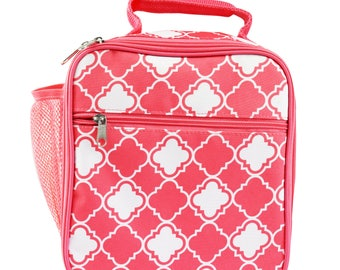 Insulate Lunch bag ( pink Quatrofiol, Turquoise Quatrofiol, Black White Greek key., Pink Greek Key, Turquoise Greek Key)