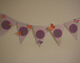 Bunting personalized for baptism, birthday, room etc.