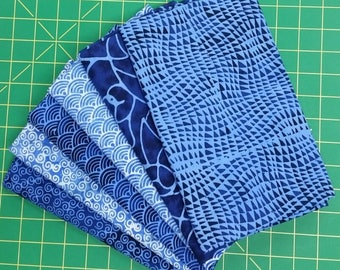 Blue Batiks by Blank Quilting - 6 - 1 Yard cuts.  Beautiful Blue Batiks