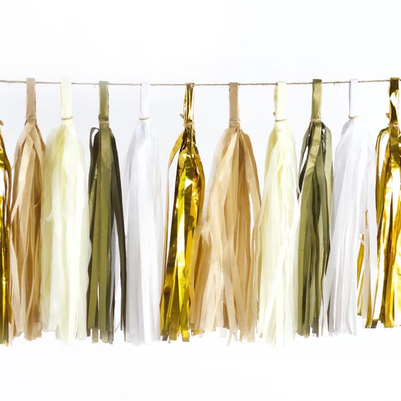 Cloud Nine Tassels, Tissue Tassels, Tassel Banner, Birthday Party Decor, DIY Tassels, Girl Birthday, Wedding, Beige Gold Baby Shower Bridal