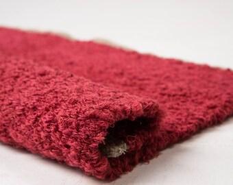 Crimson cotton rag rug, bathroom rug, soft boucle yarn rug, crimson floor runner, woven on the loom rug, washable, handmade, MADE TO ORDER