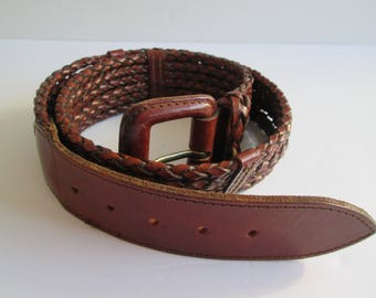 Vintage Made In Turquey Brown Leather Belt
